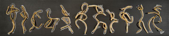 Past-Haring – pasta su pannello nero – 240 x 25 x 12 cm